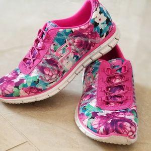 Skechers sneakers 9.5 dual lite floral pink memory